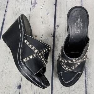 MILWAUKEE | studded open toe wedge sandals